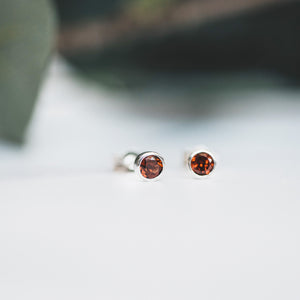 Garnet and Silver Stud Earrings
