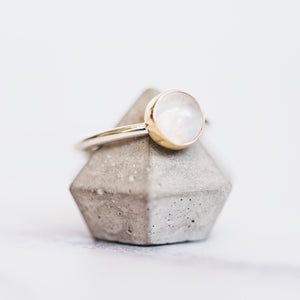 Moonstone Silver Ring with Gold Setting