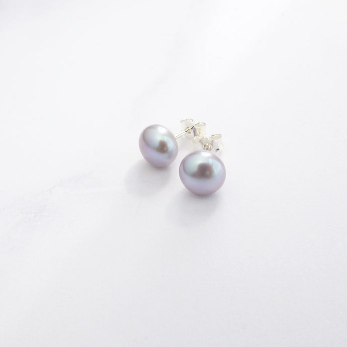Large Pale Grey Pearl Stud Earrings