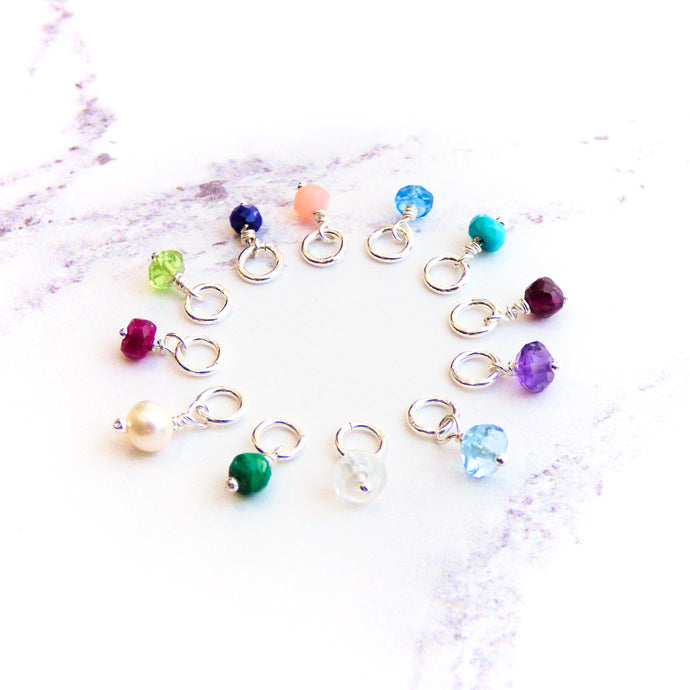 Silver and 9ct Gold Gemstone Charms