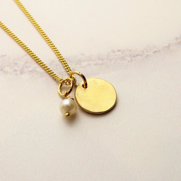 Initial Disk Yellow Gold Pendant