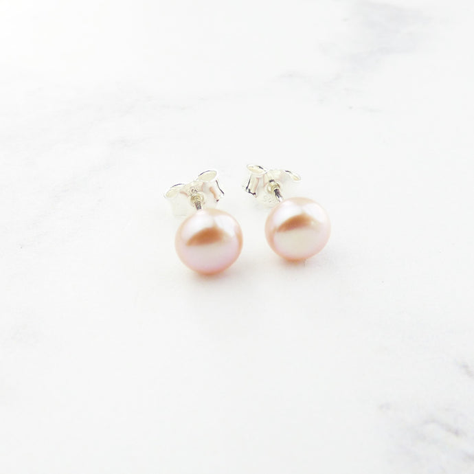 Small Pink Pearl Stud Earrings