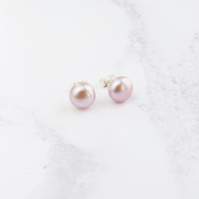 Large Pink Pearl Stud Earrings