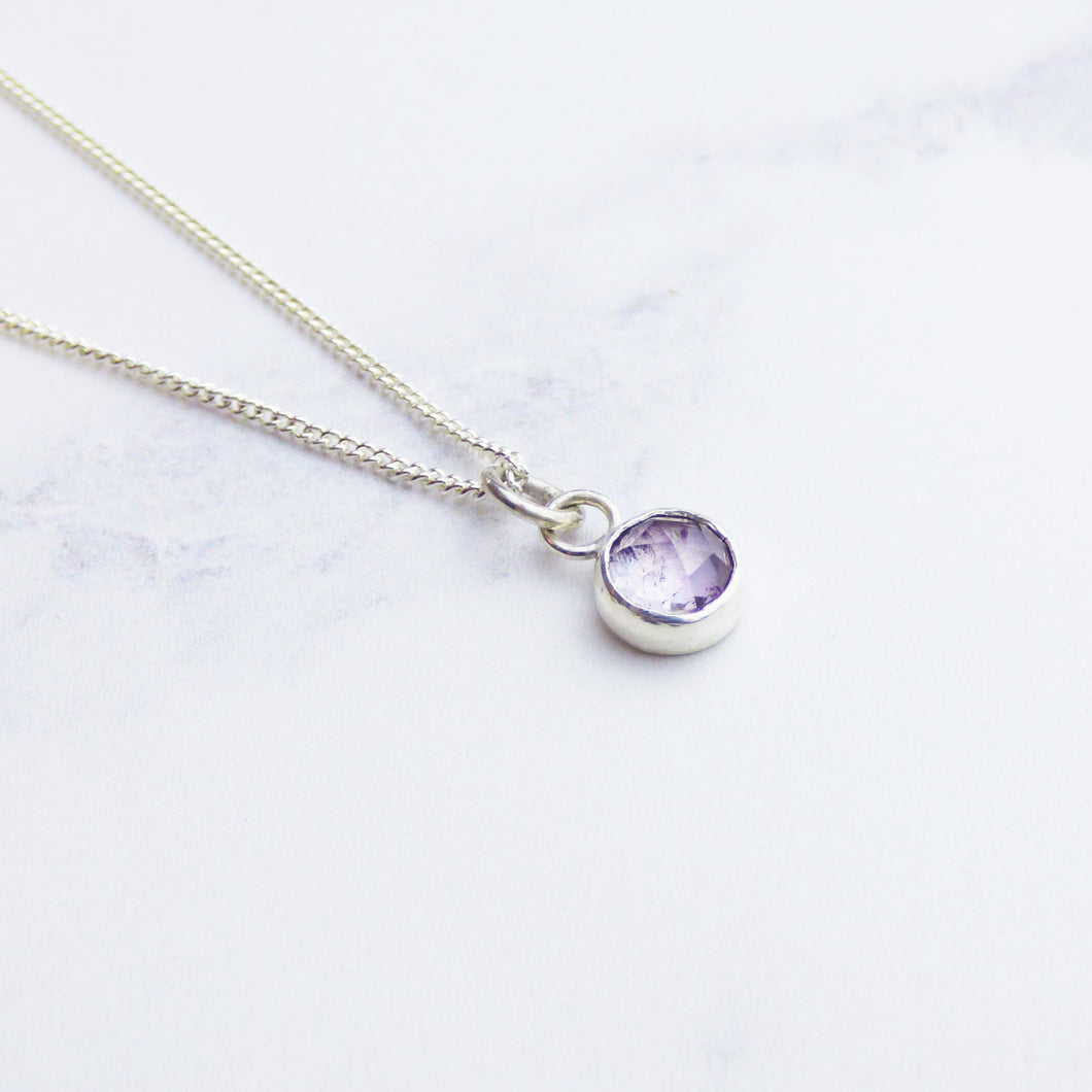 Purple Spinel and Silver Pendant