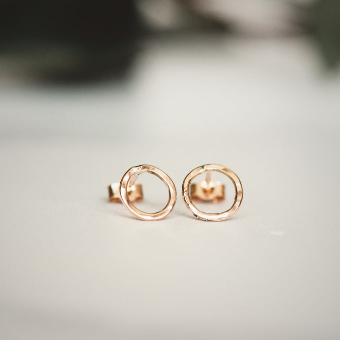 Rose Gold Hammered Circle Stud Earrings