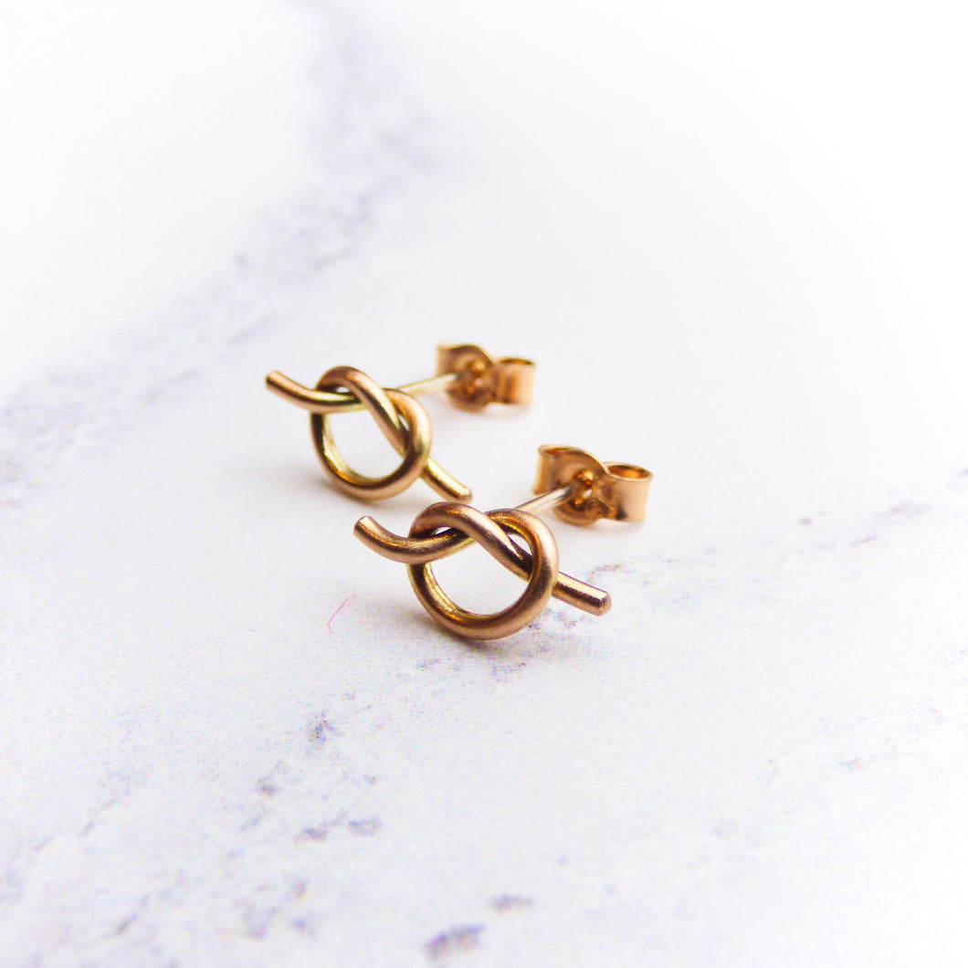 9ct Rose Gold Love Knot earrings