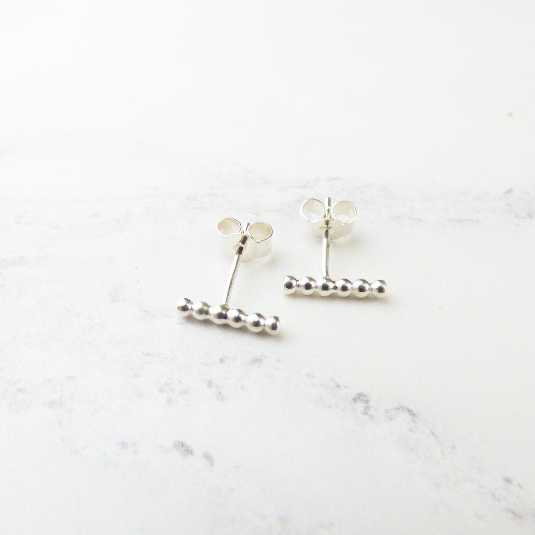 Silver Bead Bar Stud Earrings