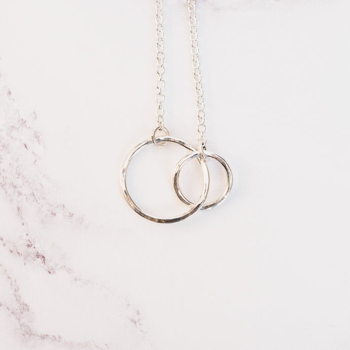 Hammered Silver Double Circle Pendant