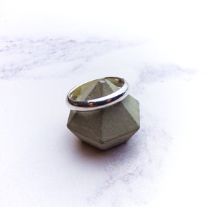 Silver D-Shaped Mens Ring