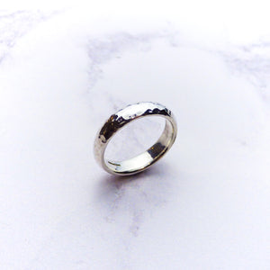 Silver Hammered Mens Ring
