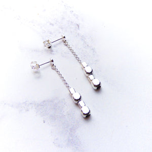 Silver Cube Bead Long Earrings