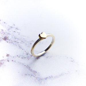 9ct Gold Heart and Silver Stacking Ring