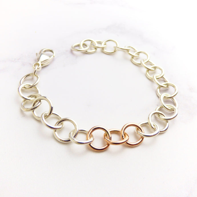 Silver and Rose Gold Chain Bracelet