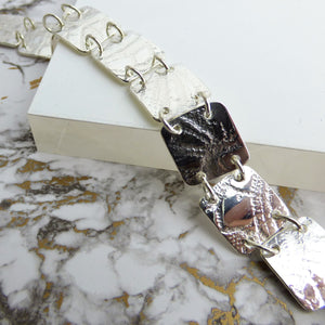 Silver Lace Square Link Bracelet, Bracelet/Bangle - Kirsty Taylor Goldsmiths