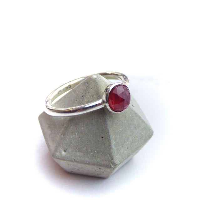 Red Spinel and Silver Ring