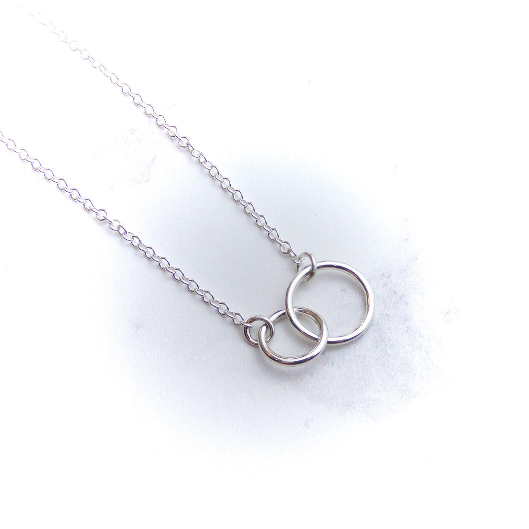 Plain Double Silver Circle Pendant