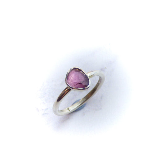Pink Spinel and Silver Ring