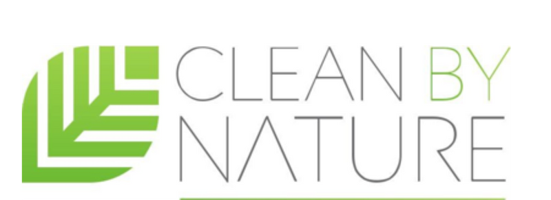 Clean By Nature Logo Leaf with Clean By Nature Text Sustainable Cleaning Products