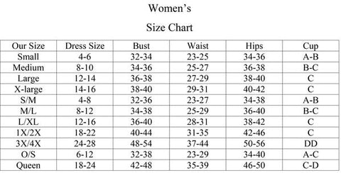 BeWicked Size Chart