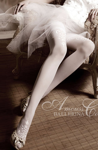 White Embroidered Thigh High Stockings