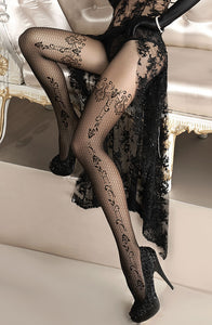 Black Embroidered Pantyhose