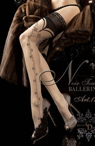 Beige Embroidered Thigh High Stockings