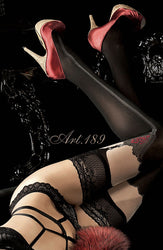 Black Thigh High Stockings with Red Detailing
