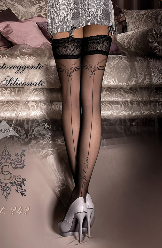 Black 'Je t'aime' Thigh High Stocking