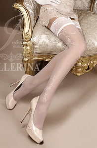 Ivory Embroidered Thigh High Stockings