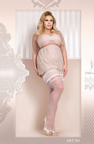 White Lace Trim Thigh High Stockings (Plus)