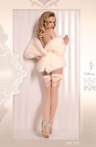 Ivory Ruffle Top Thigh High Stockings