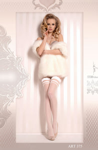 White Ruffle Top Thigh High Stockings