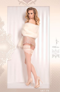 Lace Top Thigh High Stockings, Ivory