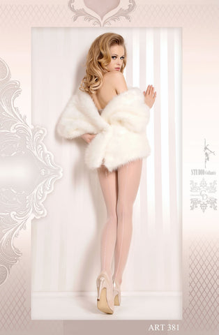 White Pantyhose with Silver Detailing