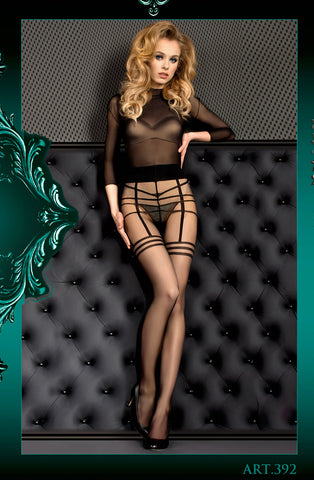 Image of Black Stripe Pantyhose