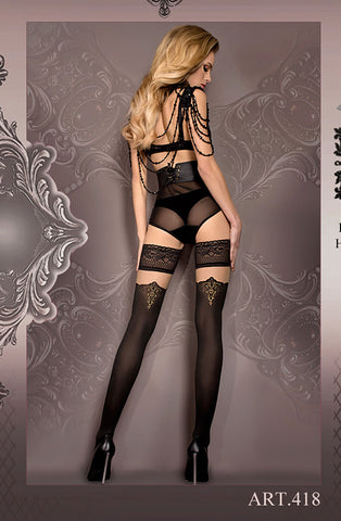 Image of Black/Nude Thigh High Stockings