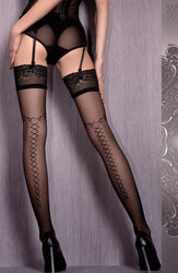 Black Criss-cross Thigh High Stockings
