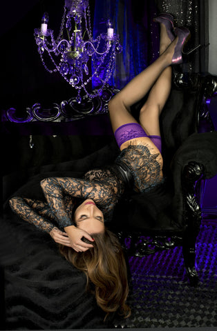 Black/Purple Thigh High Stockings