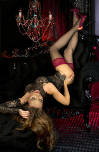 Black/Red Thigh High Stockings