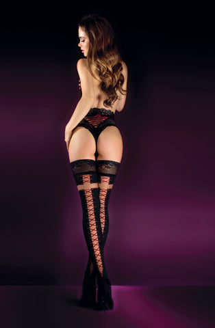 Black/Skin Crisscross Thigh High Stockings