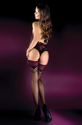 Image of Black/Granata Thigh High Stockings, 2