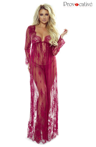 Image of Elegant Lace Robe, Wine
