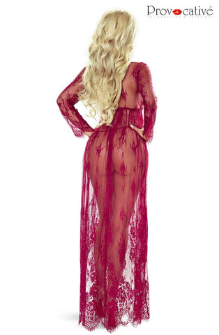 Elegant Lace Robe, Wine