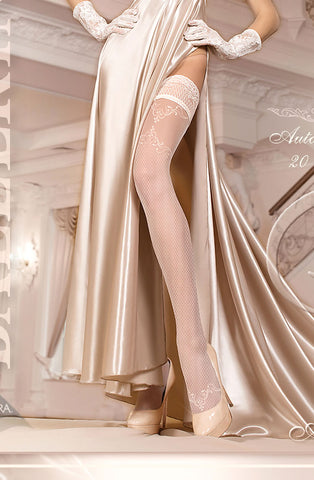 Ivory Embroidered Fishnet Thigh High Stockings