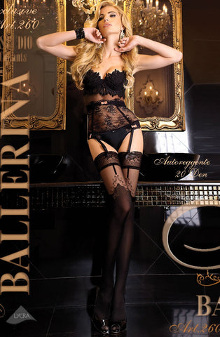 Black Sheer Contrast Thigh High Stockings