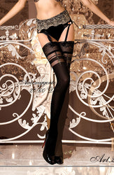 Black Faux Suspender Thigh High Stockings