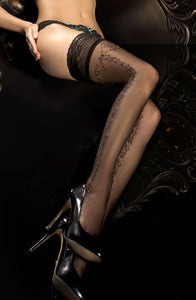 Black Sparkly Embroidered Thigh High Stockings