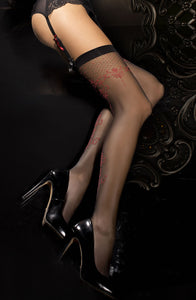 Black Embroidered Thigh High Stockings