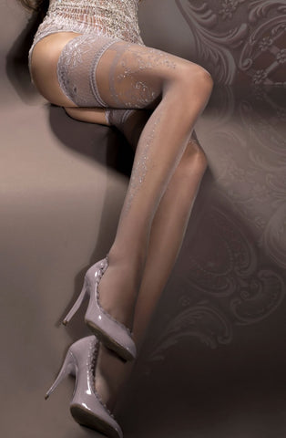 Grey Embroidered Thigh High Stockings