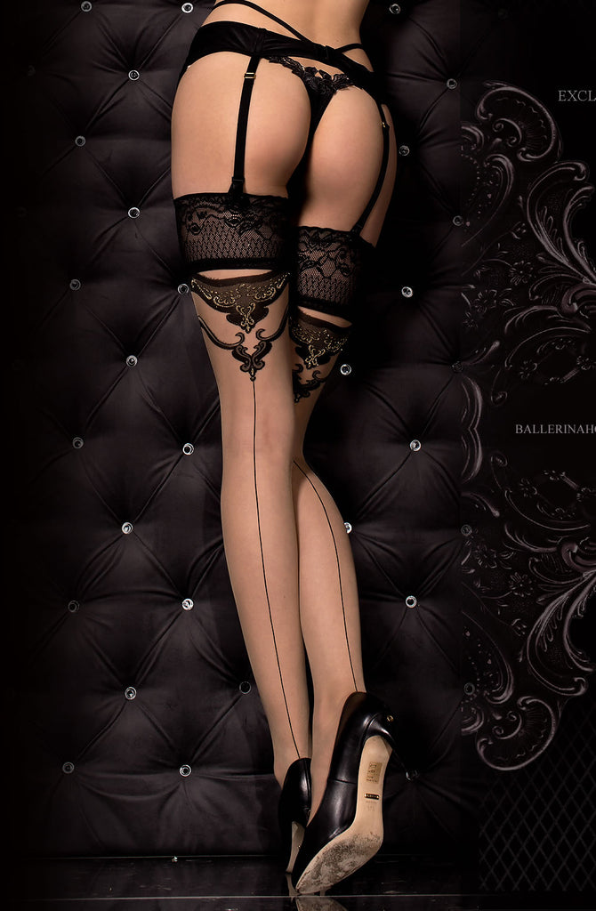 Nude Thigh High Stockings with Black Detailing